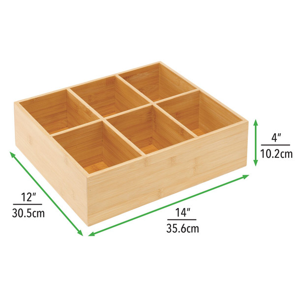 Bamboo Tea Bag Holder and Condiment Accessory Box - 6 Sections