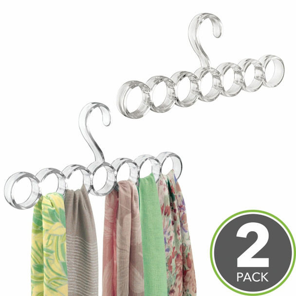 7 Section Hanging Accessory and Scarf Holder, Closet Organizer - Clear