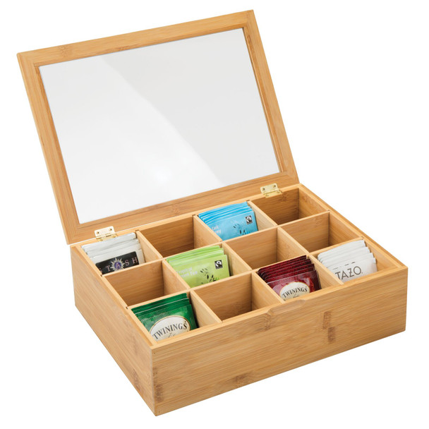 Bamboo Tea Bag Holder and Condiment Accessory Box