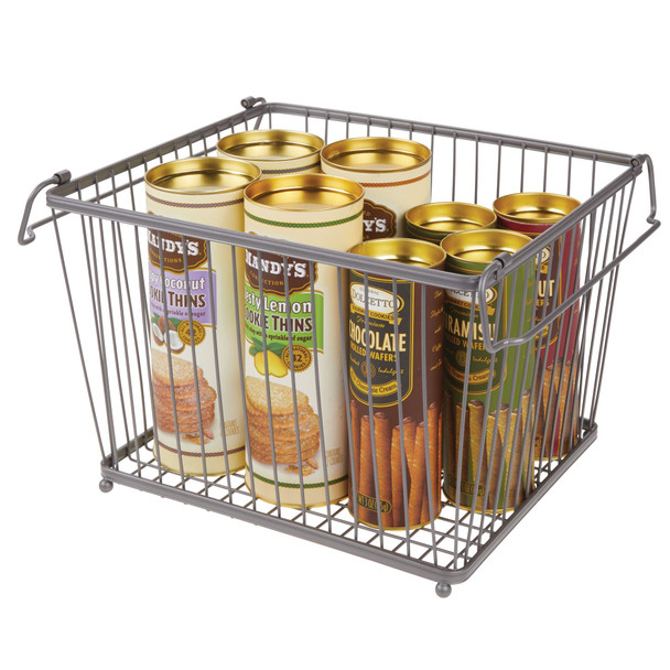 Stacking Metal Kitchen Pantry Food Storage Basket - Graphite