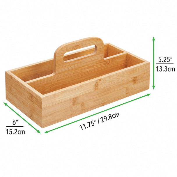 2 Section Bamboo Tea Bag / Food Storage Holder with Handle