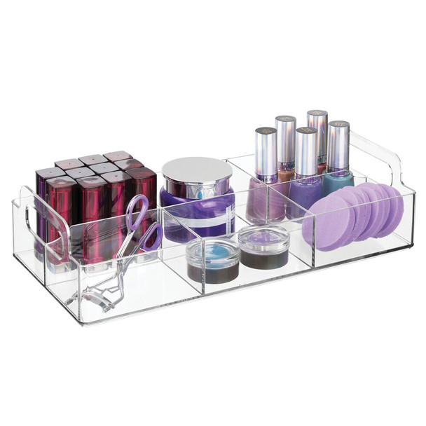 "6 Section Divided Plastic Makeup Cosmetic Storage Organizer - 12"" x 5.7"" x 2.9"""