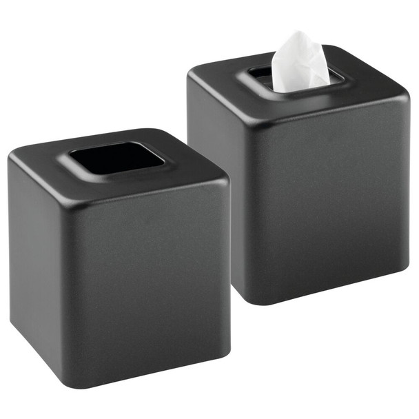 Metal Square Facial Tissue Box Cover Holder - Pack of 2