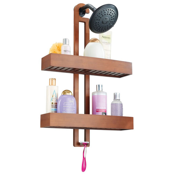 Wide Bamboo Bathroom Shower Caddy - Hanging Storage