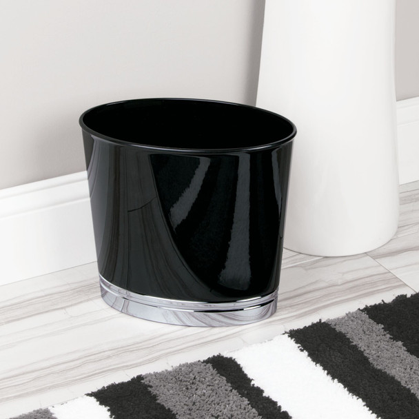 Small Slim Plastic Oval Trash Can Garbage Bin