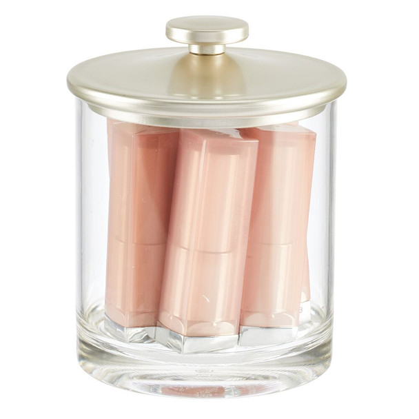 Round Plastic Bathroom Vanity Storage Canister Jar - Small