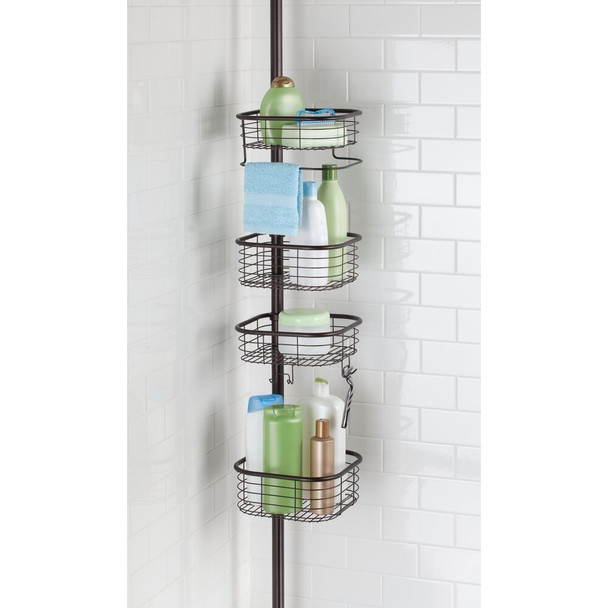 Adjustable 4 Tier Tension Pole Shower Caddy - Square Baskets