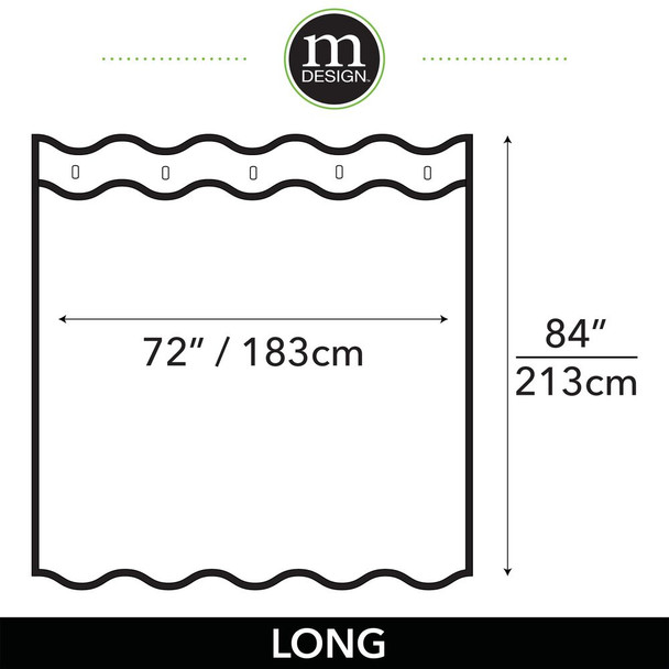 Water Repellent Fabric Shower Curtain Liner 72 x 84