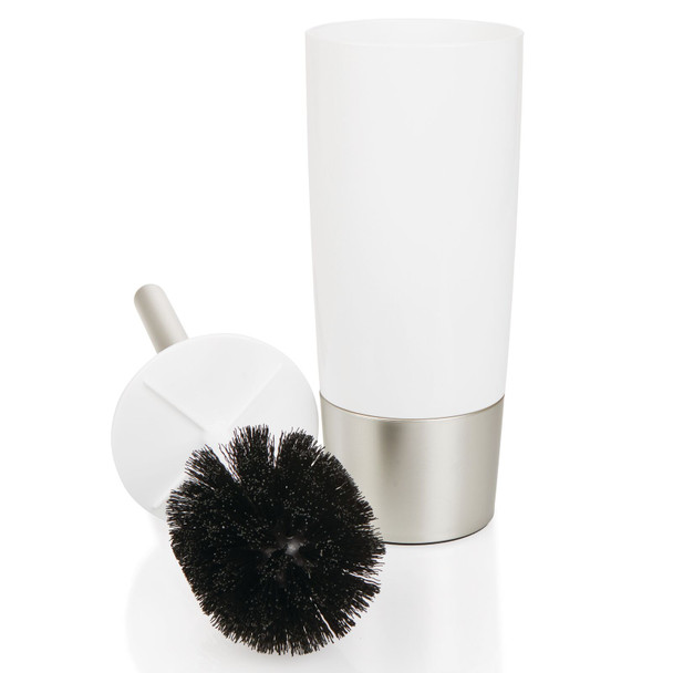 Slim Plastic Compact Toilet Bowl Brush + Holder