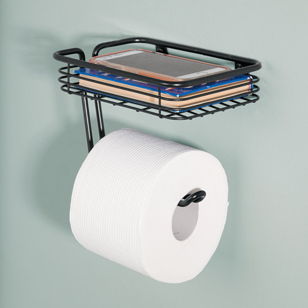 Wall Mount - Toilet Tissue Paper Roll Dispenser & Shelf