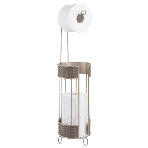 Toilet Tissue Paper Roll Holder & Dispenser - Metal with Plastic Woven Accent