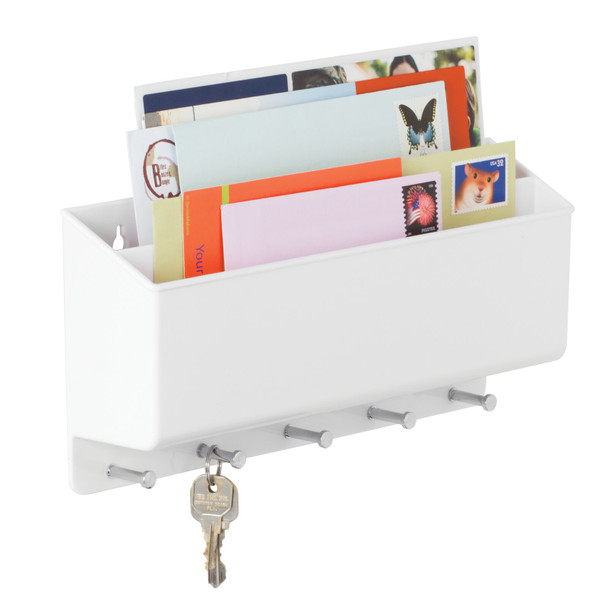 Wall Mount Entryway Key and Letter Holder / Mail Sorter - 2 Sections