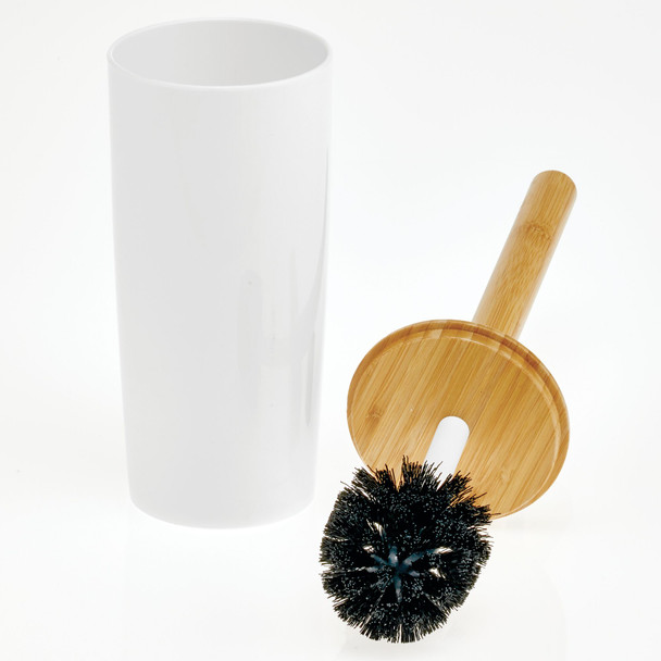 Plastic/Bamboo Compact Toilet Bowl Brush and Holder