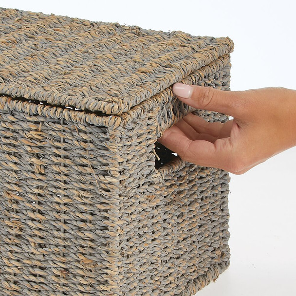 Natural Woven Seagrass Storage Baskets with Lid, Set of 3