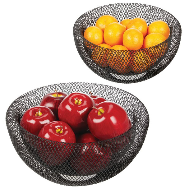 Modern Countertop Fruit Bowl Mesh Wire Basket Holders - Set of 2