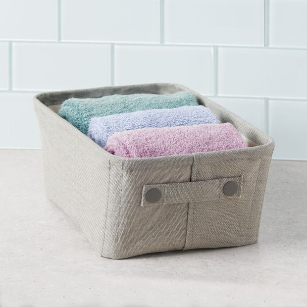 "Wide Fabric Bathroom Storage Bin with Coated Interior - 13.5"" x 8.75"" x 5.5"""