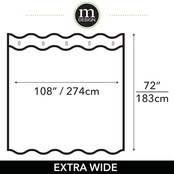"""X-WIDE Waffle Weave Cotton Shower Curtain, 108 x 72"""""""