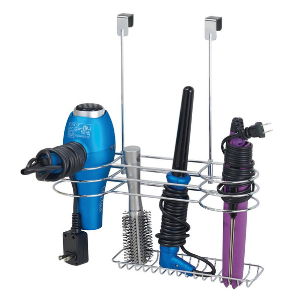 Metal Over Cabinet Door Hair Dryer + Styling Tool Rack Holder