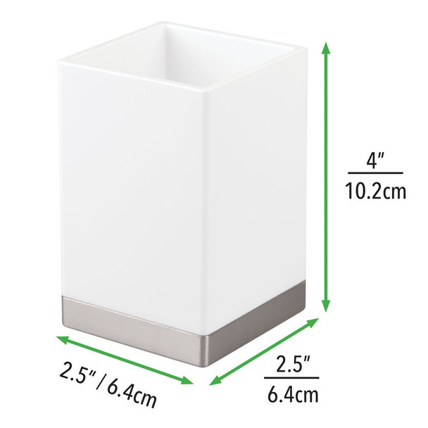 Square Plastic Tumbler Cup for Bathroom Vanity - Pack of 2