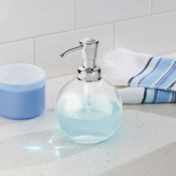 Small Round Glass Refillable Liquid Soap Dispenser Pump