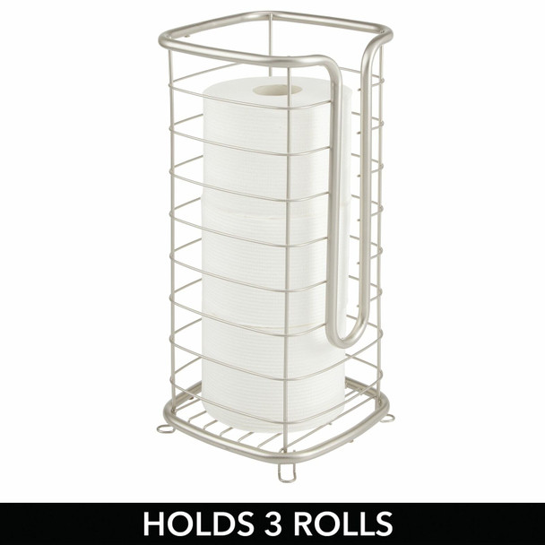 Tall - Toilet Tissue Paper Roll Holder Stand, Metal