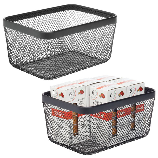 "Metal Wire Storage Basket with Handles - 12"" x 9"" x 6"""