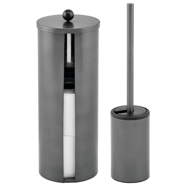 Metal Toilet Paper Canister and Bowl Brush - Set of 2