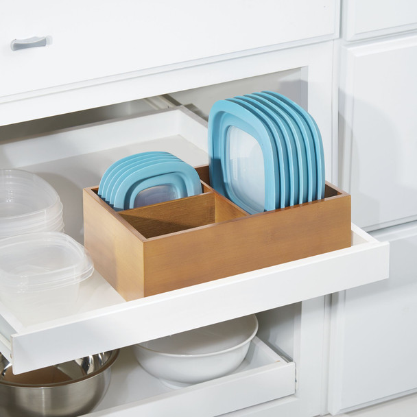 Bamboo Kitchen Storage Organizer for Food Container Lids