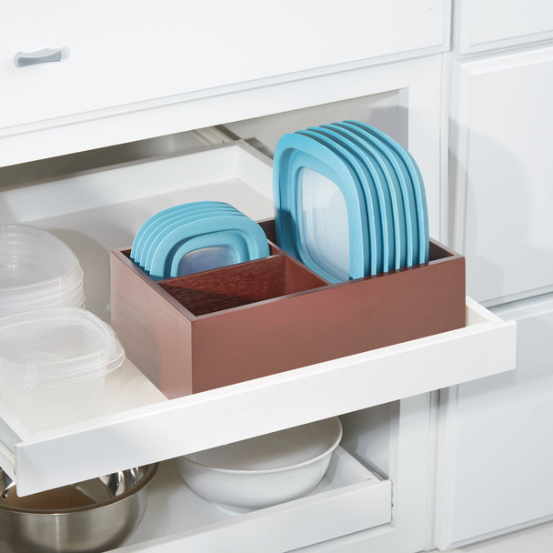 Bamboo Kitchen Storage Organizer for Food Container Lids - Pack of 2