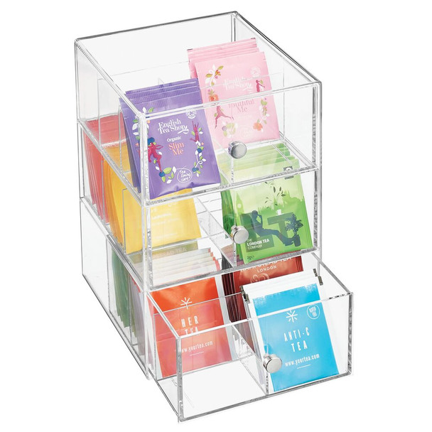3 Drawer Plastic Kitchen Tea Bag Organizer Box - 18 Sections