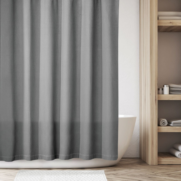 """Extra Long Waffle Weave Cotton Shower Curtain - 72"""" x 96"""""""