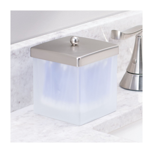 Square Glass Bathroom Vanity Storage Canister Jar - Pack of 2