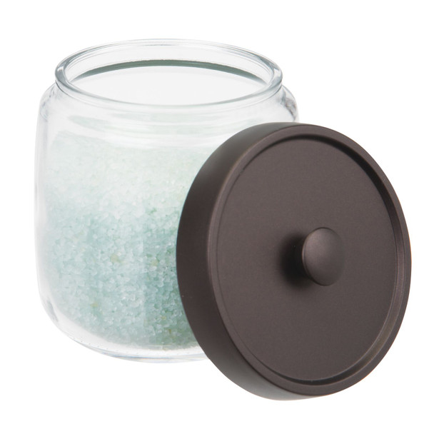 Round Glass Bathroom Vanity Storage Canister Jar - Pack of 2