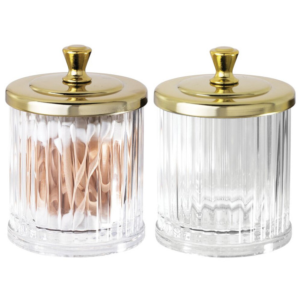 Fluted Plastic Bathroom Vanity Storage Jar Canister - Pack of 2