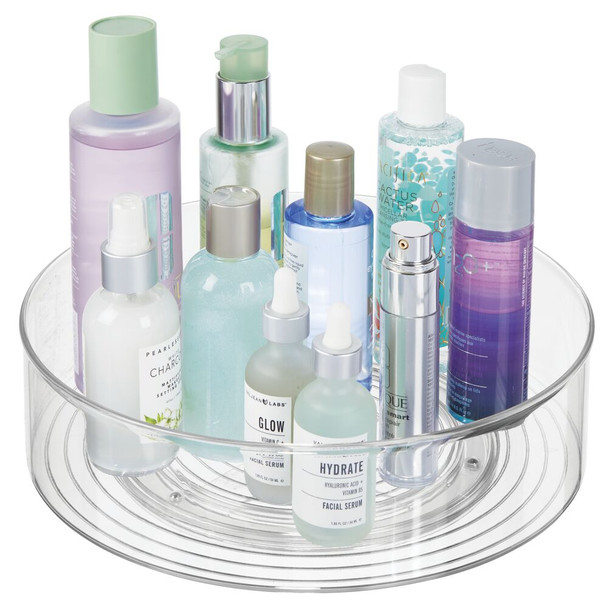 "Plastic Lazy Susan Turntable for Makeup Cosmetic Storage - 11.5"" Diameter"