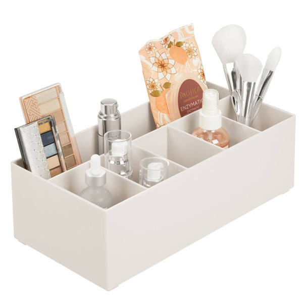 6 Section Divided Plastic Makeup Cosmetic Storage Organizer