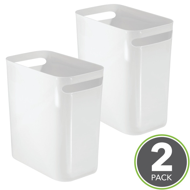 """Small Plastic Slim Trash Can, 12"""" High - Pack of 2"""