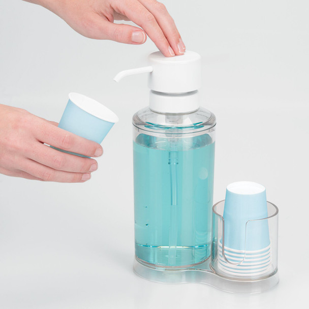 Plastic Mouthwash Dispenser and Cup Holder, 25.8 oz.