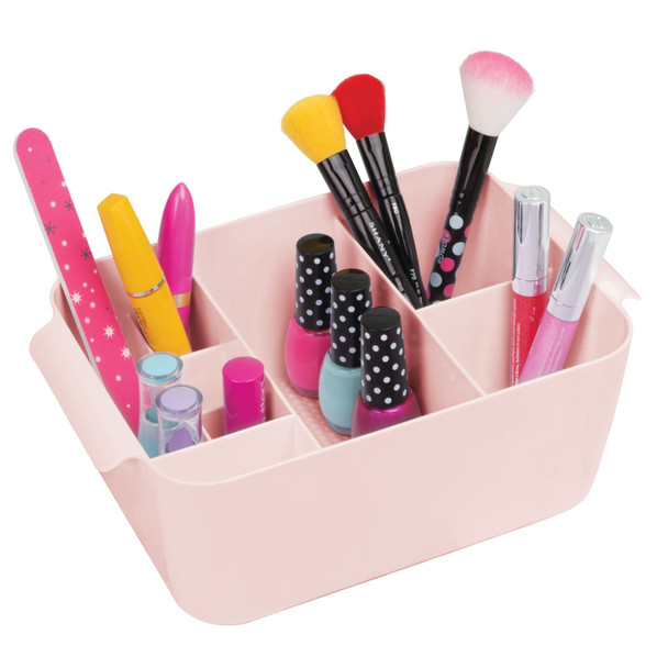 Small Plastic Vanity Makeup Storage Caddy Tote Bin with Multiple Compartments