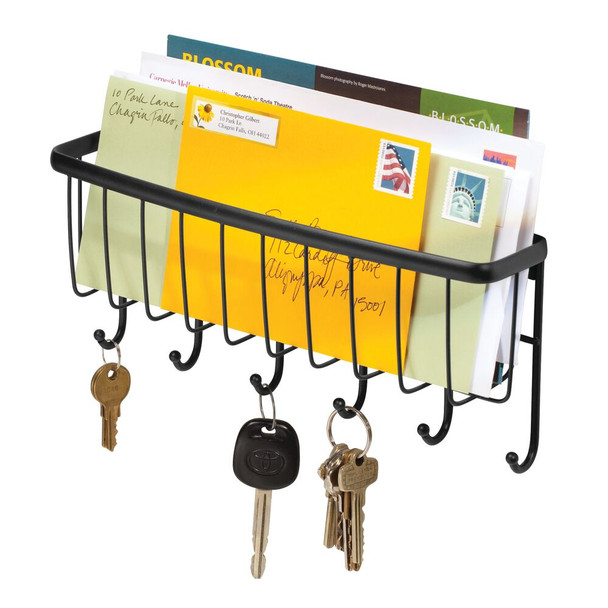 Metal Wire Wall Mount Entryway Key Rack and Mail Holder