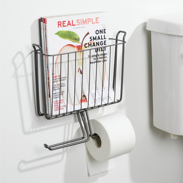 Metal Wall Mount Magazine and Toilet Tissue Holder