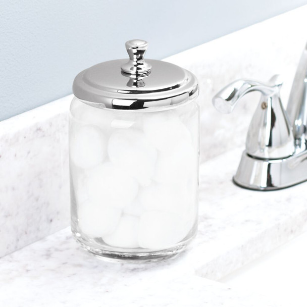 Large Glass Bathroom Vanity Storage Canister Jars - Pack of 3