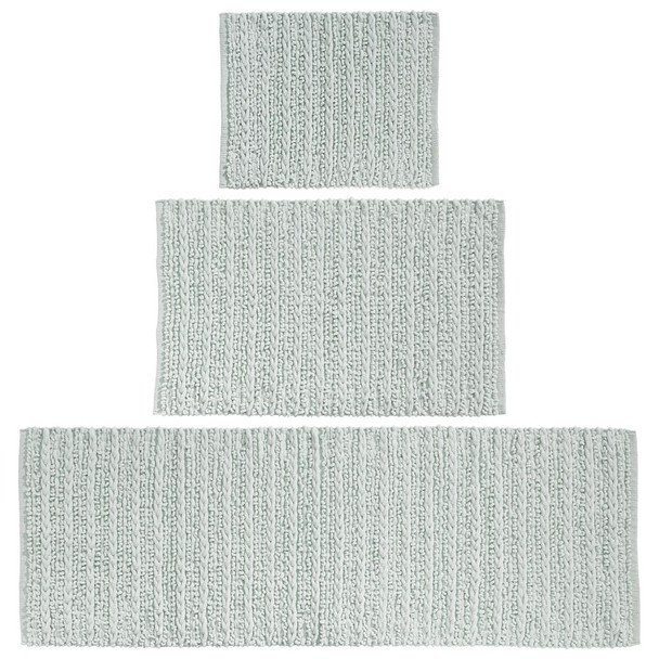 Cotton Spa Bath Mats with Braided Design - Set of 3