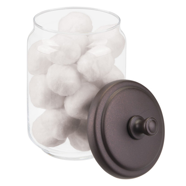 Large Glass Bathroom Vanity Storage Canister Jars - Pack of 2