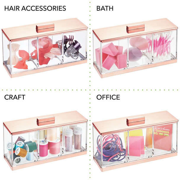 3 Section Divided Makeup Organizer Storage Canister with Lid