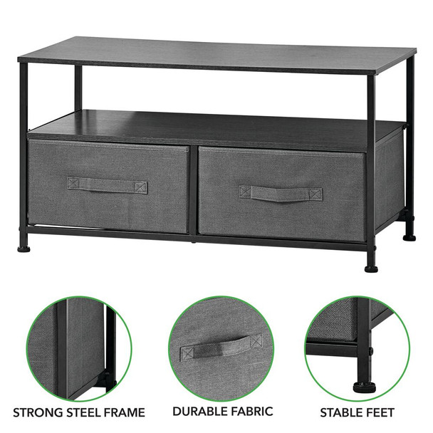 2 Drawer Storage TV Stand Unit with Fabric Drawers