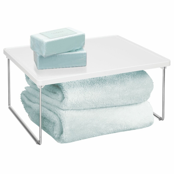 2 Tier Plastic Bathroom Vanity Counter Storage Shelf