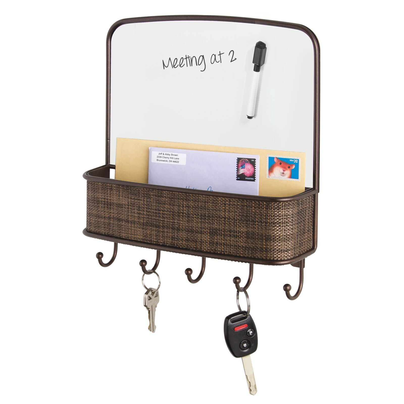 6 Hooks Magazines Keys Holds Letters Chrome Vine Design Office Storage Organizer Mail Basket with Dry Erase Board mDesign Metal Wall Mount Entryway Coats Leashes