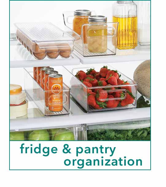 Open fridge with clear bins and stored fruits, eggs, and cans