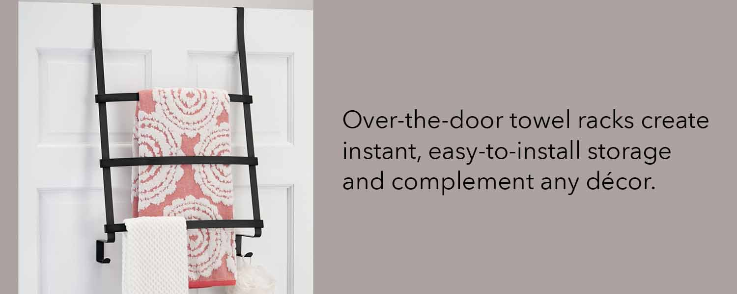 over the door towel racks create instant easy to install storage and compliment any decor